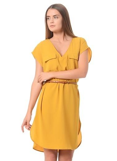 Cep Detaylı V Yaka Kısa Elbise-Only